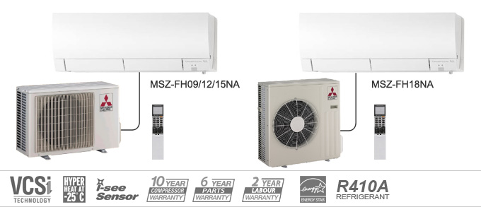 Example of Mitsubishi Electric Heating and Cooling MSZ-FH Series heat pumps