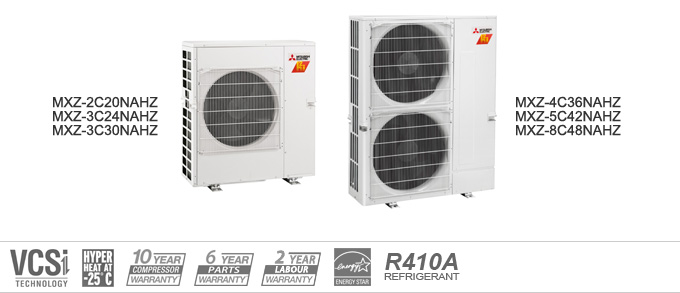 Example of Mitsubishi Electric Heating and Cooling MXS Multi Outdoor heat pumps