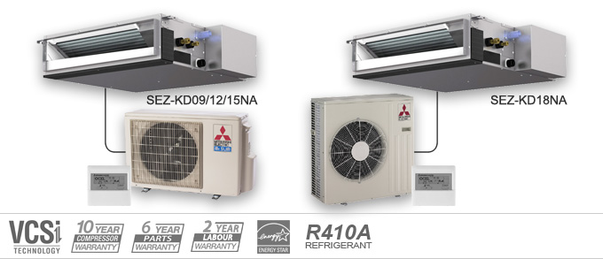 Example of Mitsubishi Electric Heating and Cooling SEZ Series ceiling concealed heat pumps