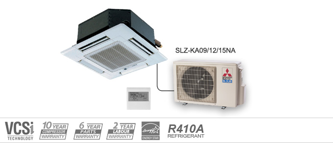 Example of Mitsubishi Electric Heating and Cooling SLZ Series ceiling cassette heat pumps