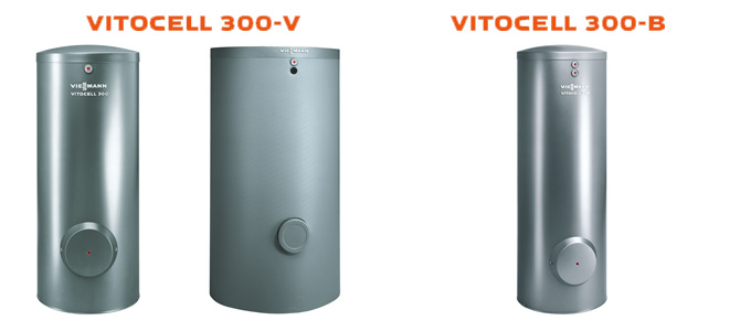 Example of Viessmann Vitocell 300-V and 300-B hot water tanks